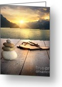Stack Rock Greeting Cards - View of sandals and rocks on dock  Greeting Card by Sandra Cunningham