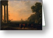 Sunset Scenes. Painting Greeting Cards - View of Seaport Greeting Card by Claude Lorrain