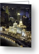 The Bund Greeting Cards - View Of Shanghais Bund District By Night Greeting Card by Andrew Rowat