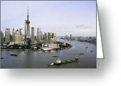 The Bund Greeting Cards - View Of Shanghais Pudong District B Greeting Card by Andrew Rowat