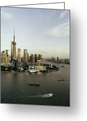 The Bund Greeting Cards - View Of Shanghais Pudong District By Day Greeting Card by Andrew Rowat