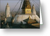 Asian Architecture And Art Greeting Cards - View Of Swayambhunath Stupa Greeting Card by Maria Stenzel