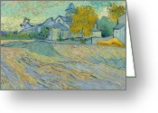 Brushstroke Greeting Cards - View of the Asylum and Chapel at Saint Remy Greeting Card by Vincent Van Gogh