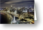 The Bund Greeting Cards - View Of The Bund District At Night Greeting Card by Andrew Rowat