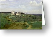Surroundings Greeting Cards - View of the Chateau de Pierrefonds Greeting Card by Jean Baptiste Camille Corot