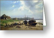 1823 Greeting Cards - View of the Dutch Coast Greeting Card by Johan Gerard Smits
