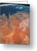 Space.planet Greeting Cards - View Of The Earth From Outer Space Greeting Card by Stockbyte