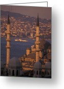 Minaret Greeting Cards - View Of The Golden Horn And Asia Greeting Card by Richard Nowitz