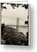 Gw Bridge Greeting Cards - View of the GW Bridge Greeting Card by Roni Chastain