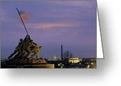 Patriotism Greeting Cards - View Of The Iwo Jima Monument Greeting Card by Kenneth Garrett