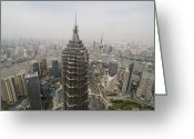 Communications Tower Greeting Cards - View Of The Jin Mao Tower In Shanghai Greeting Card by Win Initiative