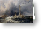 Fishermen Greeting Cards - View of the Lighthouse at Gatteville Greeting Card by Jean Louis Petit
