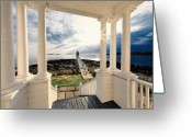 Dramatic Light Greeting Cards - View of the Marshall Point Lighthouse from the Keepers House Greeting Card by George Oze