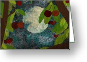 Illustration Greeting Cards - View Of The Moon And Cherries Growing On Trees At Night Greeting Card by Jutta Kuss