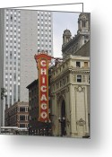 Structures Greeting Cards - View Of The Neo-baroque Chicago Theatre Greeting Card by Paul Damien