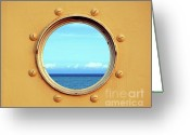 Porthole Greeting Cards - View of the Ocean through a Porthole Greeting Card by Yali Shi