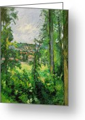 Outskirts Greeting Cards - View of the Outskirts Greeting Card by Paul Cezanne