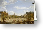 Ancient Rome Greeting Cards - View of the Roman Forum Greeting Card by Giovanni Paolo Panini