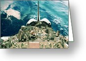 Shuttle Greeting Cards - View Of The Tail Section Of The Space Shuttle Orbiting Above Earth Greeting Card by Stockbyte