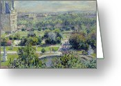 Buildings Painting Greeting Cards - View of the Tuileries Gardens Greeting Card by Claude Monet