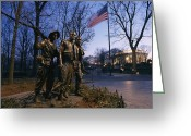 National Flag Greeting Cards - View Of The Vietnam Memorial Greeting Card by Richard Nowitz