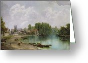 Landing Painting Greeting Cards - View of Twickenham Greeting Card by W Howard