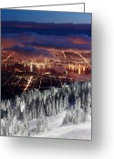 B.c Greeting Cards - View of Vancouver from Grouse mountain at sunset Greeting Card by Pierre Leclerc