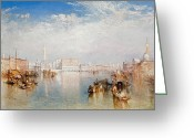 Venetian Architecture Greeting Cards - View of Venice The Ducal Palace Dogana and Part of San Giorgio Greeting Card by Joseph Mallord William Turner