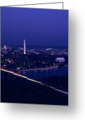 Lincoln Memorial Photo Greeting Cards - View Of Washington D.c. At Night Greeting Card by Kenneth Garrett