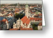 Munich Greeting Cards - View Over Munich With Frauenkirche Greeting Card by Greg Dale