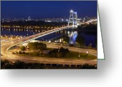 Most Greeting Cards - View Over Novy Most Bridge At Night Greeting Card by Allan Baxter