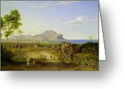 Ocean Path Greeting Cards - View over Palermo Greeting Card by Carl Rottmann