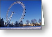 Large Clock Greeting Cards - View Over The Snow Covered Ground Towards The London Eye, Big Ben And The Houses Of Parliament, Southbank, London, London, England Greeting Card by VisitBritain/Britain on View