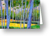 Autumn Painting Greeting Cards - View Through Aspen Greeting Card by Johnathan Harris
