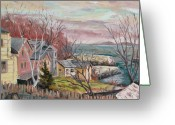 Somber Greeting Cards - View to Lanes Cove Greeting Card by Chris Coyne