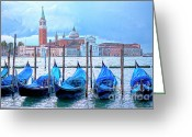 Evening Light Greeting Cards - View to San Giorgio Maggiore Greeting Card by Heiko Koehrer-Wagner