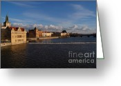 Karluv Most Greeting Cards - View Upstream from Charles Bridge Greeting Card by Serena Bowles