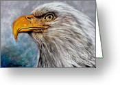 Eagle Pastels Greeting Cards - Vigilant Eagle Greeting Card by Patricia L Davidson