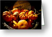 Wicker Baskets Greeting Cards - Vignette Photo of Small Pumpkins in a Wicker Basket at the Market - Fall Harvest in Autumn Colors Greeting Card by Chantal PhotoPix