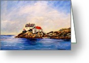 Carol Allen Anfinsen Greeting Cards - Vikeholmen Lighthouse Greeting Card by Carol Allen Anfinsen