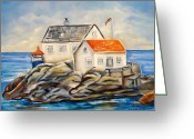 Carol Allen Anfinsen Greeting Cards - Vikeholmen Lighthouse II Greeting Card by Carol Allen Anfinsen