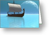 Exploration Digital Art Greeting Cards - Viking Ship 2 Greeting Card by Corey Ford