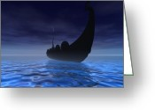 Norse Greeting Cards - Viking Ship Greeting Card by Corey Ford