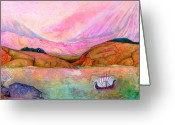 Crayon Painting Greeting Cards - Viking Sunset Greeting Card by Jane Tripp
