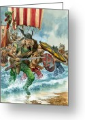 Landing Painting Greeting Cards - Vikings Greeting Card by Pete Jackson