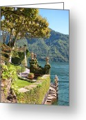 Lake Como Greeting Cards - Villa Balbianello Marina Greeting Card by Marilyn Dunlap
