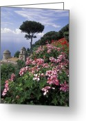 Red Building Greeting Cards - Villa Rufolo And Wagner Terrace Gardens Greeting Card by Richard Nowitz