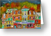 Rooves Painting Greeting Cards - Village Autumn Greeting Card by Michael Litvack
