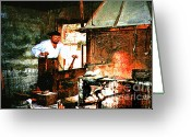 Altered Photograph Greeting Cards - Village Blacksmith  Digital Art Greeting Card by Merton Allen