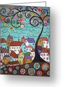 Folk Art Greeting Cards - Village By The Sea Greeting Card by Karla Gerard
